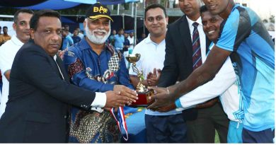 Awarding volleyball trophy to Sri Lanka Air Force by Bangladesh Air Force.