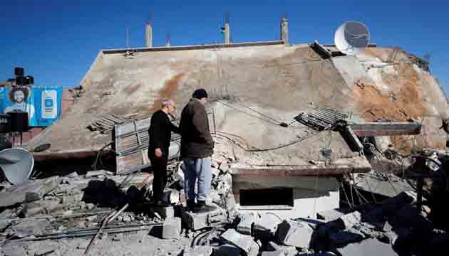 At least 56 Palestinians have been injured in the protests against the demolition a residential building at the West Bank city of Ramallah .