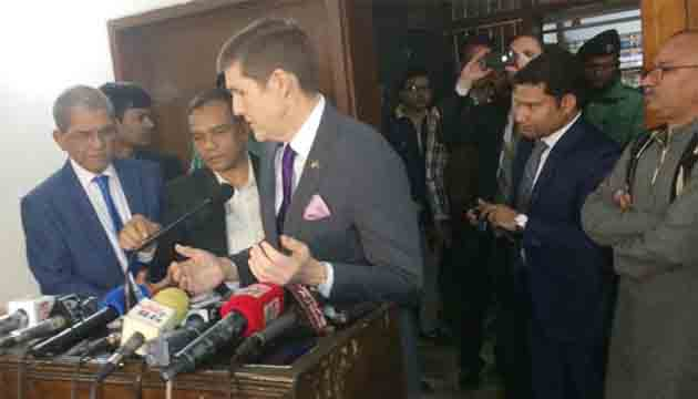 The US encourages all to participate in the democratic and electoral process and avoid violence, says US Ambassador in Dhaka Earl M. Miller .