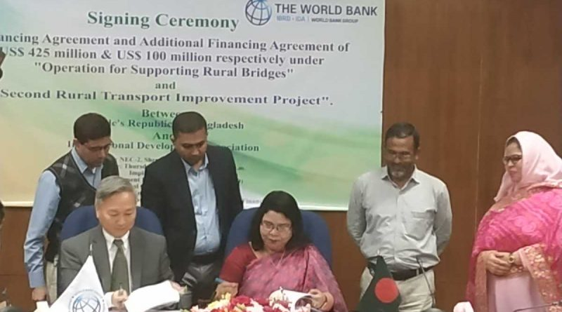 Bangladesh signed two financing agreements totaling $525 million with the World Bank to Support Rural Roads and Bridges.