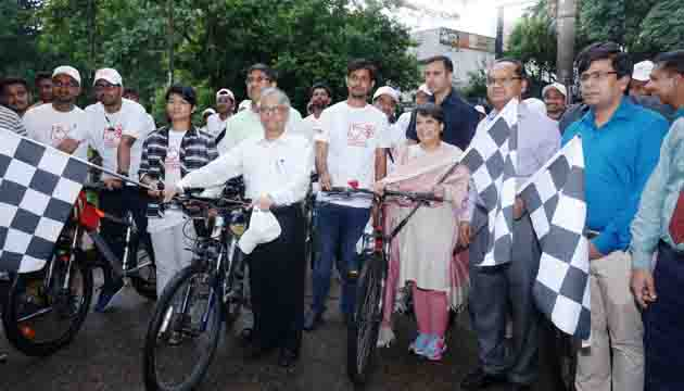 Cycle rally in commemoration of Mahatma Gandhi's 150th birth anniversary