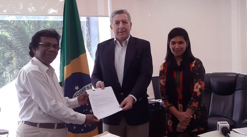 Brazil Embassy to Dhaka has handed over a credentials letter to Today's World News 24.