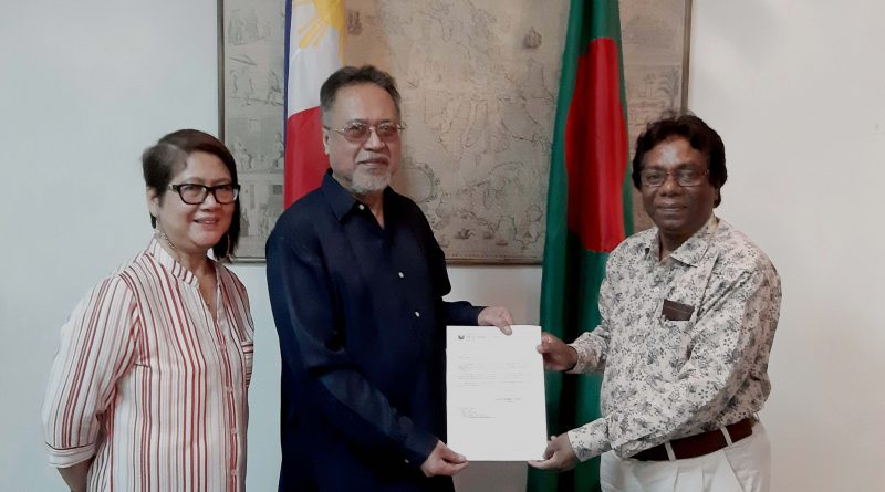 Embassy of the Republic of the Philippines to Bangladesh  has handed over a credentials letter to Today's World News 24.
