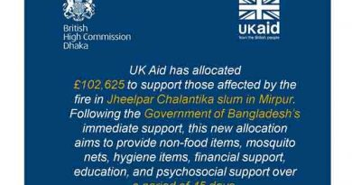 DFID-UK Department for International Development allocates £102,625 to support those affected by the fire in Jheelpar Chalantika slum in Mirpur.