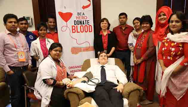 U S Embassy held a blood drive for patients in Bangladesh