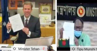 Bangladesh and Australia sign a trade and investment framework.